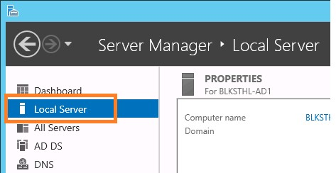Local Server Windows Server 2012