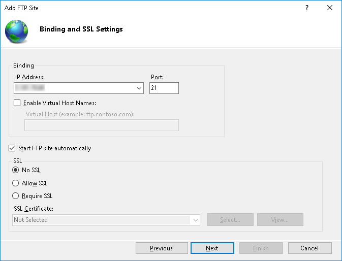 Binding and SSL Setting