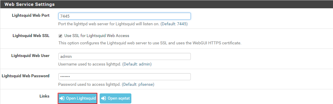 Web service settings