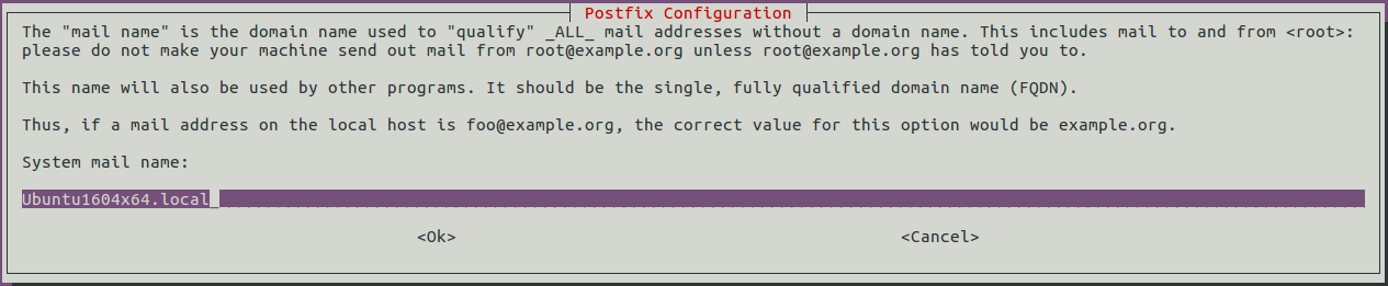 Postfix Configuration-System mail name