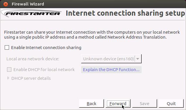 Internet connection sharing setup