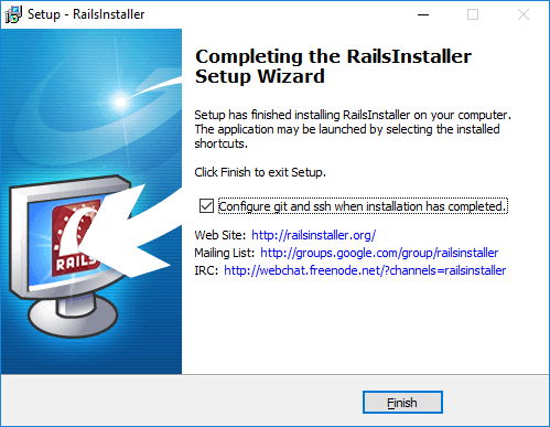 Completing the RailsInstaller